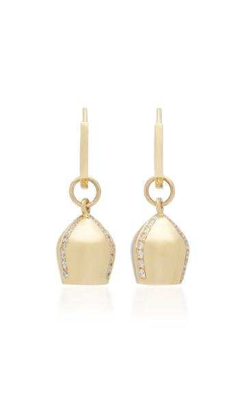 Haute Victoire 18k Gold & Diamond Lune Charm Hoop Earrings