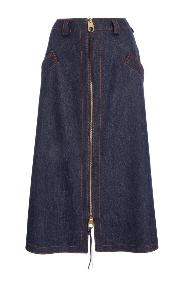 Agnona Denim Zip Skirt