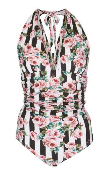 Dolce & Gabbana Striped Floral Print One-piece