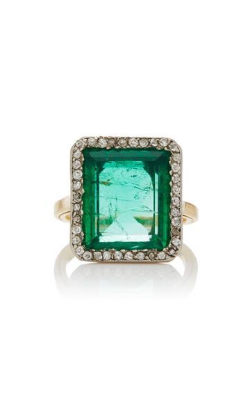 Simon Teakle Belle Poque Rectangular-cut Emerald Ring