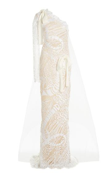 Moda Operandi Tom Ford One-shoulder Lace Gown And Tulle Veil