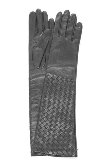 Bottega Veneta Long Woven Leather Gloves