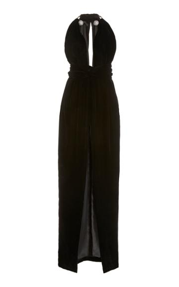 Oscar De La Renta Embellished Halterneck Velvet Maxi Dress