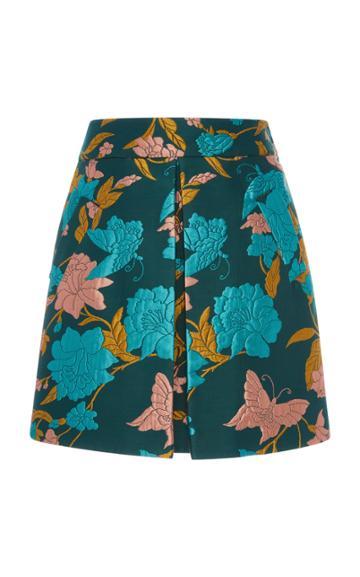 La Doublej Santa Monica Pleated Floral-jacquard Mini Skirt