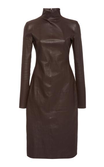 Bottega Veneta Mock Neck Leather Midi Dress