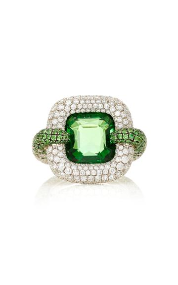 Martin Katz Cushion Shape Natural Vivid Green Tsavorite Garnet Ring