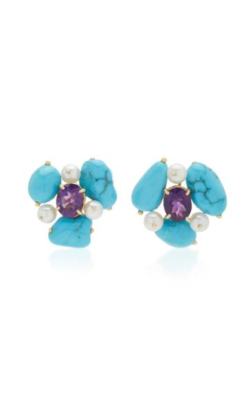 Sorab & Roshi 18k Yellow Gold Multi-stone Cluster Earrings