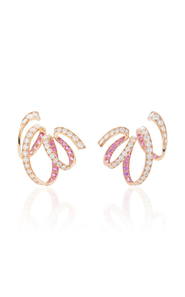 Reza M'o Exclusive: Ribbon Earrings With Diamonds And Sapphires