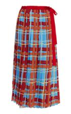 Stella Jean Pleated Plaid A-line Skirt