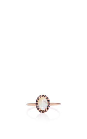 Marlo Laz 14k Rose Gold Diamond And Opal Ring