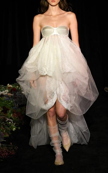 Moda Operandi Danielle Frankel Eden Tulle High Low Gown + Trapunto Stitching Detail