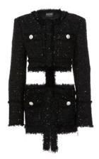 Balmain Collarless Tweed And Plastic Jacket