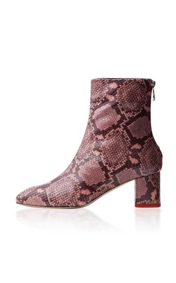 Aeyde Mel Snake Effect Leather Ankle Boots