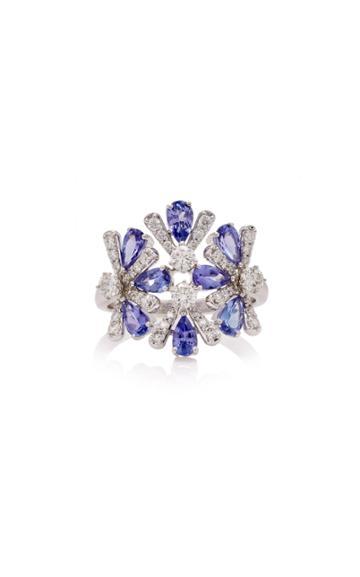 Hueb M'o Exclusive 18k White Gold Tanzanite And Diamond Ring