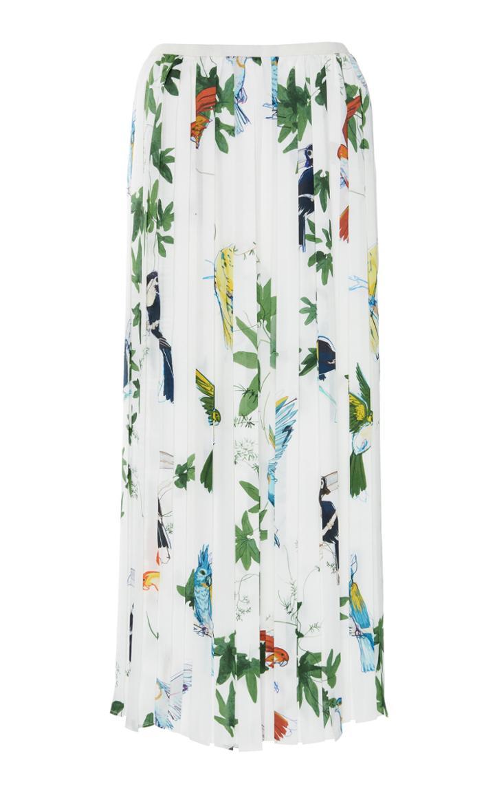 Agnona Printed Twill Pleated Skirt