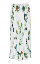 Agnona Printed Twill Pleated Skirt