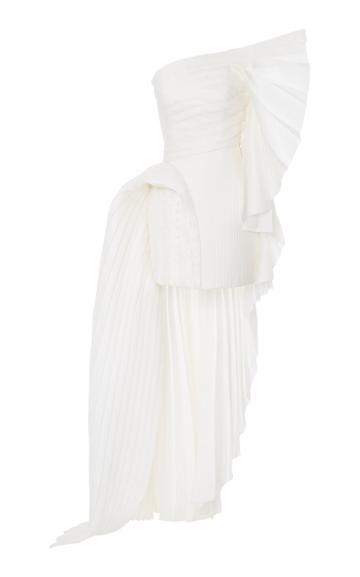 Balmain Asymmetric Pleated Train Silk Dress