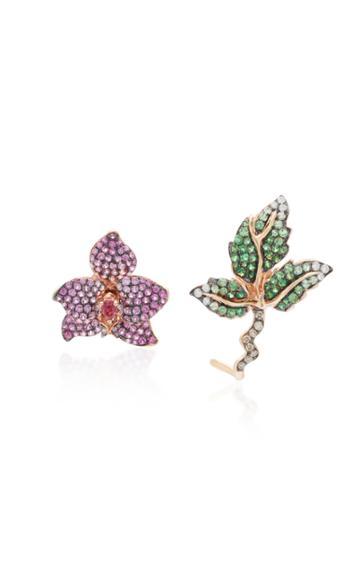 Wendy Yue Asymmetric Rose Gold Multi-stone Earrings