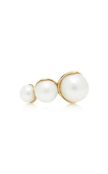 Mizuki 14k Open Triple Fluid Pearl Ring