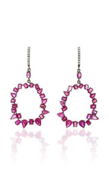 Nina Runsdorf M'o Exclusive One-of-a-kind Ruby And Diamond Jagged Edge Earrings