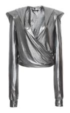 Balmain Long-sleeve Hooded Lam Wrap Top
