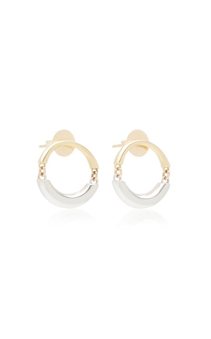 Rush Jewelry Design Signature Swinging 18k Yellow And White Gold Hoop