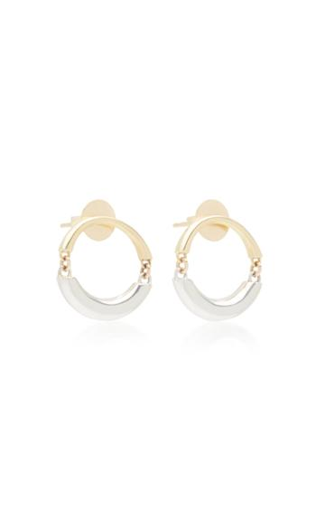 Rush Jewelry Design Signature Swinging 18k Yellow And White Gold Hoop