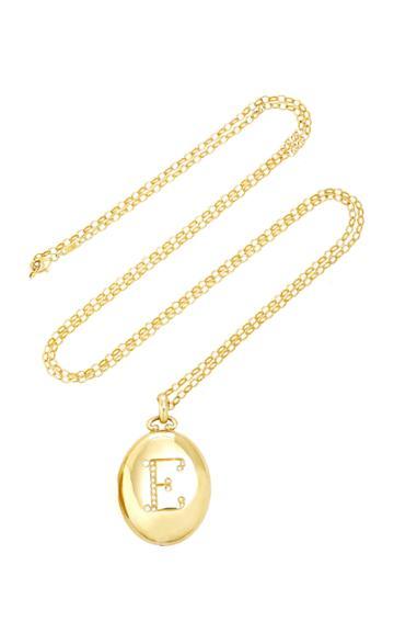 Monica Rich Kosann Bespoke Diamond Initial Locket 32 Necklace