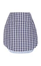 Monse Gingham Shirt Tail Mini Skirt