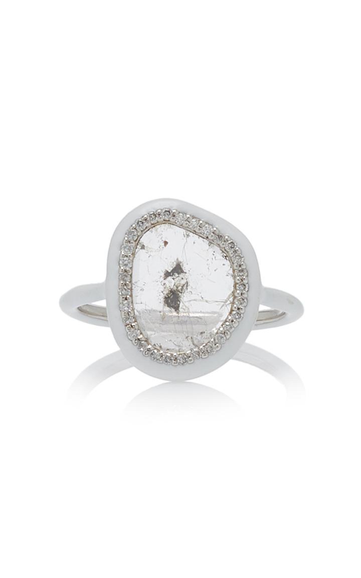 Nina Runsdorf Phoenix Slice Diamond White Enamel Ring