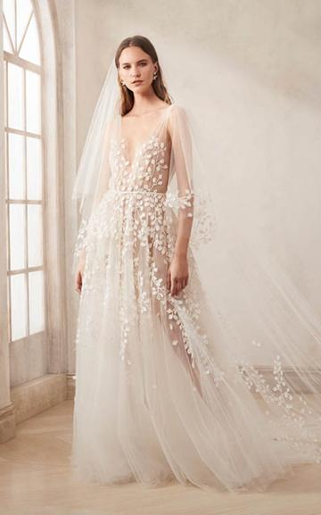 Moda Operandi Oscar De La Renta V-neck Tulle Embroidered Gown With Cut Out Leaves Si