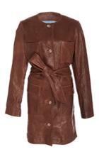 Saks Potts Beet Belted Leather Jacket