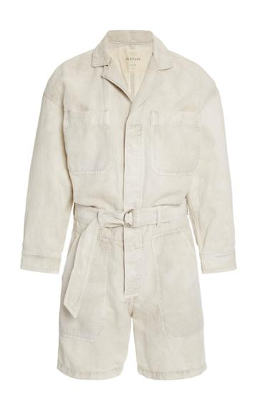 Citizens Of Humanity Willa Belted Cotton-linen Utility Romper