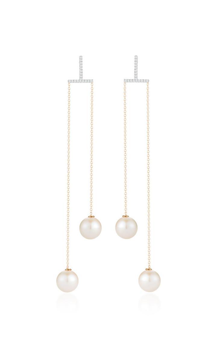 Mateo 14k Gold, Diamond And Pearl Earrings