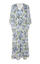 Les Reveries Petal Sleeve Silk Wrap Dress