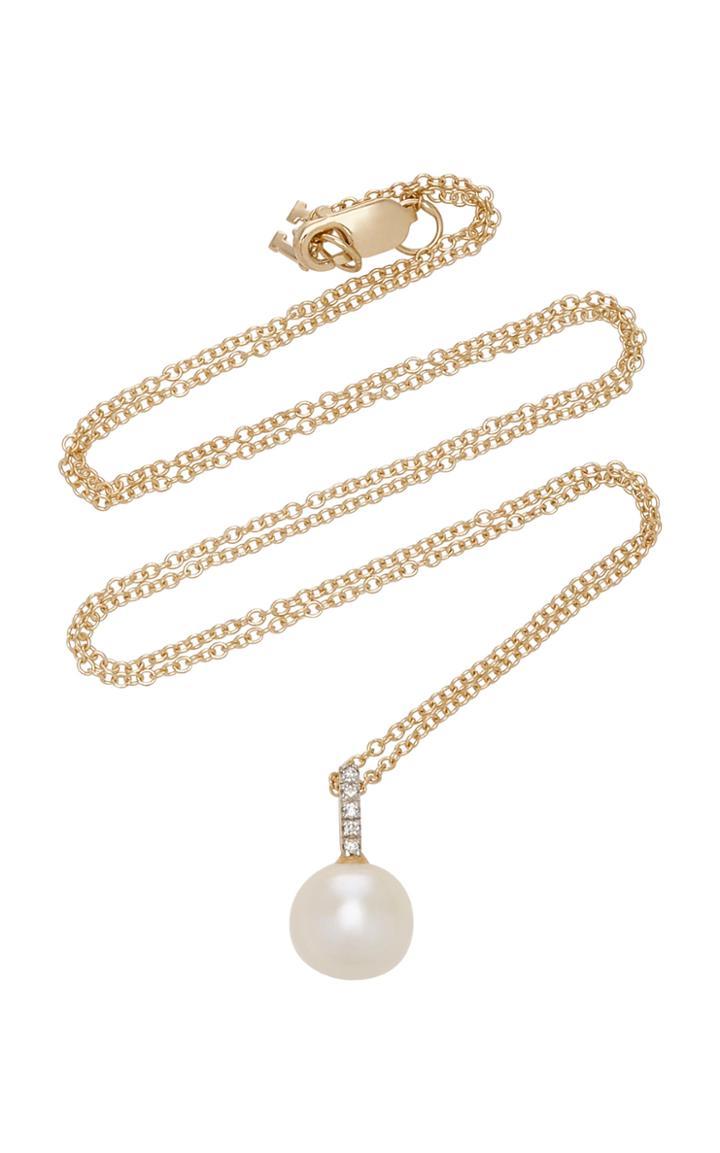 Mateo 14k Gold, Simple Pearl & Diamond Pendant Necklace