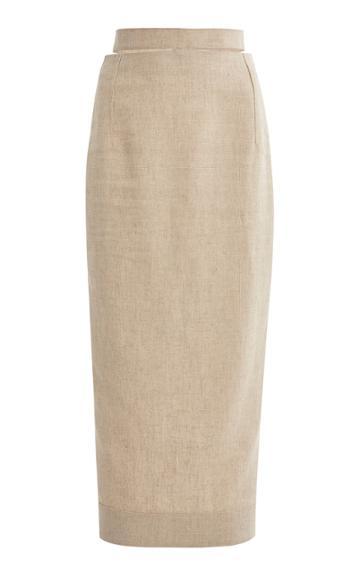 Jacquemus Valerie Cutout Woven Pencil Skirt