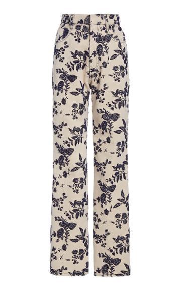 Moda Operandi Rodarte Floral Straight-leg Trousers