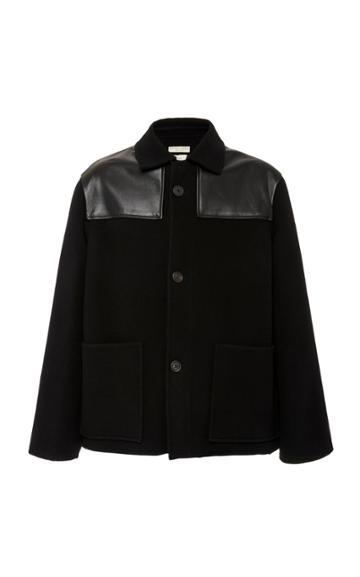 Bottega Veneta Leather-trimmed Wool Jacket