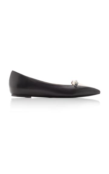 Tabitha Simmons Alexa Embellished Two-tone Leather Flats