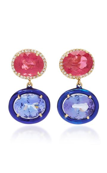 Carol Kauffmann Class 18k Gold Pink Tourmaline And Diamond Earrings