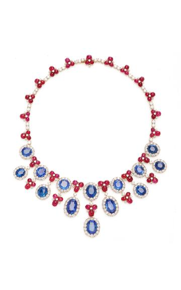 Moda Operandi Eleuteri Vintage 18k Yellow Gold Bulgari Ruby And Sapphire Necklace