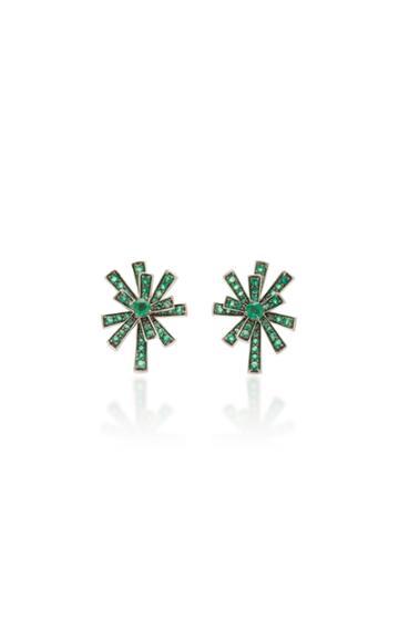 Hueb Labyrinth Emerald Studs