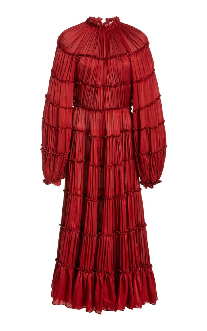 Moda Operandi Zimmermann Silk Tiered Midi Dress