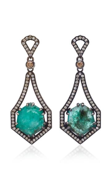 Sara Weinstock 18k Oxidized Gold Emerald And Diamond Earrings