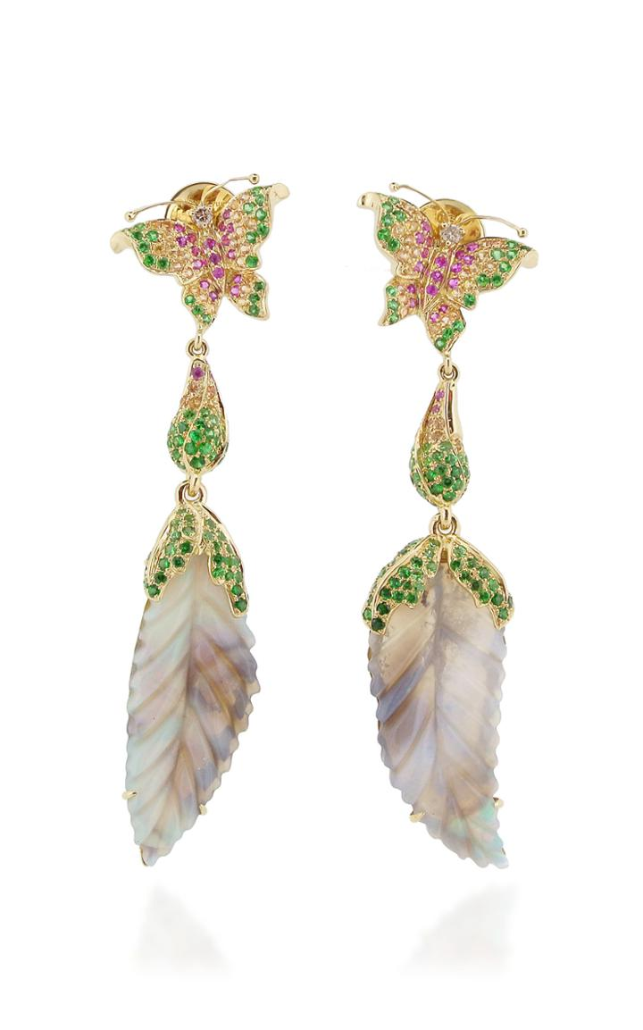Wendy Yue 18k Rose Gold, Opal, And Pink Sapphire Earrings