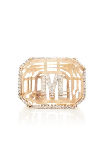 Moda Operandi Mateo 14k Yellow Gold Grand Secret Diamond Initial Ring