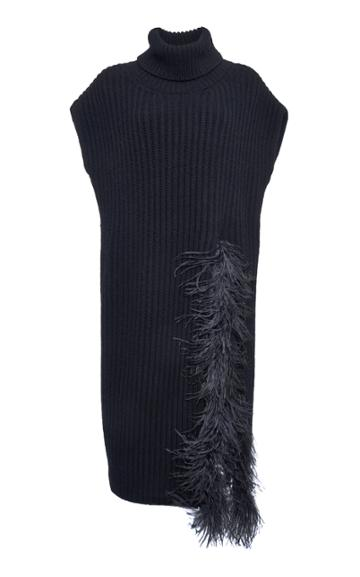 Valentino Feather-trimmed Wool-cashmere Turtleneck Top