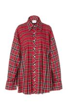 Matthew Adams Dolan Oversized Pleated Plaid Shirt