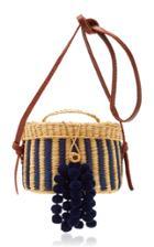 Moda Operandi Nannacay Kiki Small Striped Pompom-embellished Raffia Shoulder Bag